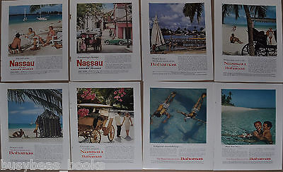 1958-62 NASSAU, BAHAMAS Tourists Assoc. advertisement x8, sunny beach, swimming