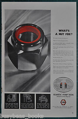 1943 ELASTIC STOP NUT advertisement, pre Nyloc, WWII Nut uses, BIG NUT photo