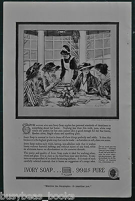 1919 IVORY SOAP advertisement, wealthy ladies & maid, luncheon Paul Stahr art