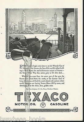 1924 TEXACO advertisement, gasoline, motor oil, New York City, auto on ferry