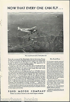 1930 FORD TRI-MOTOR  advertisement, T.A.T. Maddux air line, in flight photo