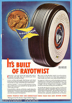 1938 GOODYEAR TIRE advertisement, Double Eagle Whitewall tire, color art