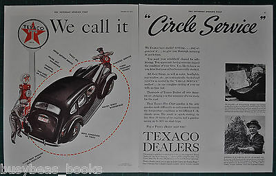 1937 TEXACO 2-page advertisement, TEXACO service station, gas pumps etc