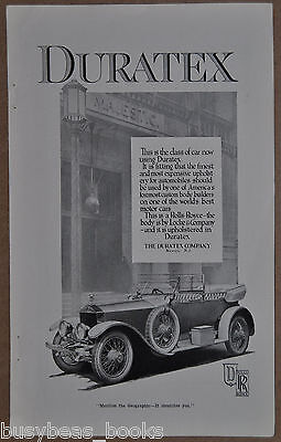 1917 DURATEX advertisement, automobile upholstery, Rolls-Royce Locke & Co