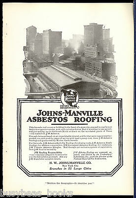 1917 JOHNS-MANVILLE advertisement, ASBESTOS Roofing, Railroad transfer shed