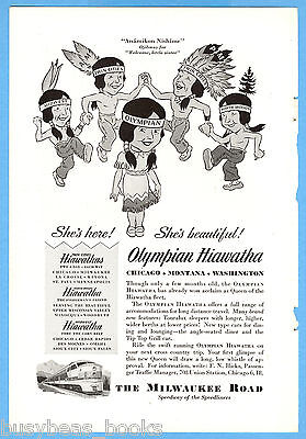 1947 MILWAUKEE ROAD advertisement, Olympian Hiawatha, Indian maiden