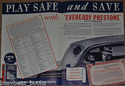 1936 PRESTONE Anti-freeze 2-page advert, winter use, Union Carbide, plus Texaco