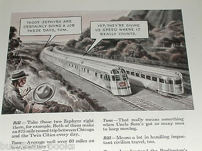 1943 BURLINGTON RR advertisement, Zephyr passenger train, CB&Q