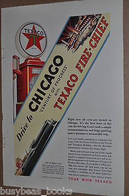 1933 Texaco advertisement TEXACO Fire-Chief gasoline Century of Progress Chicago