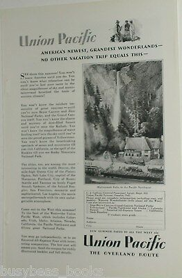 1929 UNION PACIFIC Railroad advertisement, passenger train Multnomah Falls Lodge