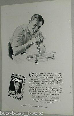 1919 Goblin Soap advertisement, Young Man washing hands