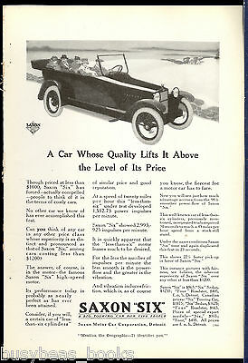 1917 Saxon 'Six' Automobile advertisement, SAXON convertible, vintage auto