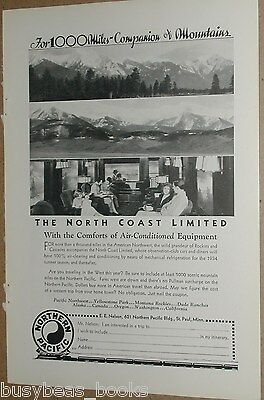 1934 Northern Pacific Railway advert, North Coast Limited, observation interior