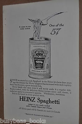 1916 Heinz advertisement for HEINZ canned Spaghetti, tin can
