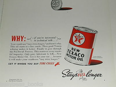 1938 Texaco ad, Motor Oil, Fire Chief, Tin Oil Can