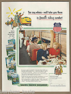 1952 UNION PACIFIC RR advertisement, dining car photo, large size advert
