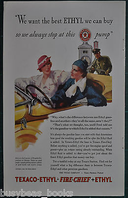 1933 Texaco advertisement, TEXACO Fire-Chief gasoline, Gas pump, service station