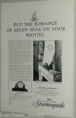 1929 Taylor Instrument advertisement, Stormoguide barometer on fireplace mantle