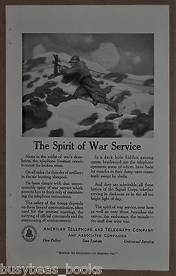 1918 AT&T advertisement, WWI Signal Corps lineman at the front, trench warfare