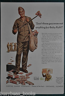 1943 Curtiss BABY RUTH advertisement, Candy Bar, Soldier cleaning litter