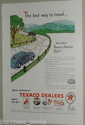 1946 Texaco advertisement, Fire-Chief gasoline, Texaco Touring Service, maps