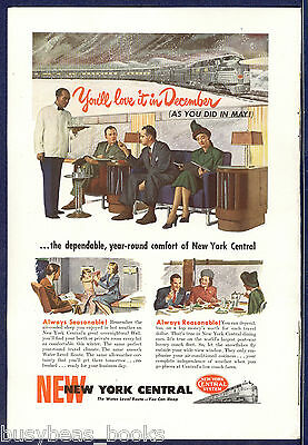 1947 NEW YORK CENTRAL RR advertisement, NYC, Club Car interior
