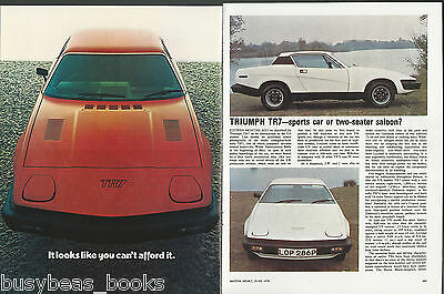 1976 TRIUMPH TR7 advertisement + article, from British magazine, Leyland