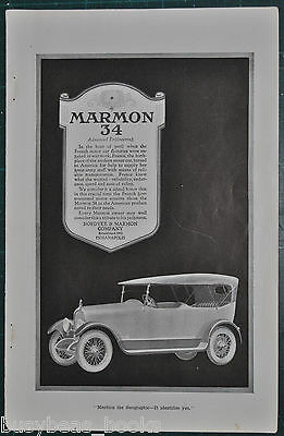 1919 Marmon 34 advertisement, Nordyke & Marmon Co automobile