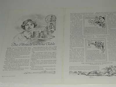 1920 National Canners 2-page advertisment, tin cans, food canning history etc