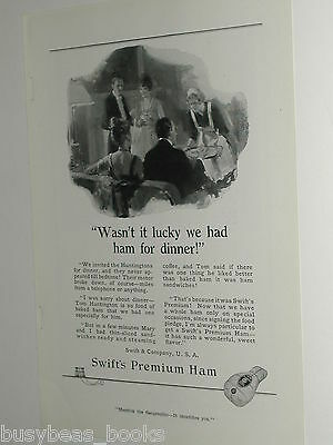 1918 Swifts advertisement, Premium Ham, Swift & Co., dinner party, maid
