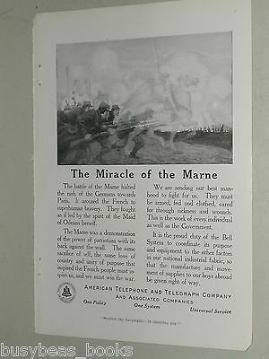 1918 AT&T advertisement page, WWI Marne France, trench infantry Joan d'Arc
