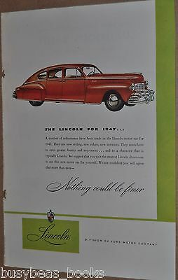 1947 Lincoln advertisement, LINCOLN Sedan, color art, Ford Motor Co