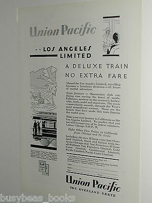 1929 Union Pacific RR train advertisement, Los Angeles Limited