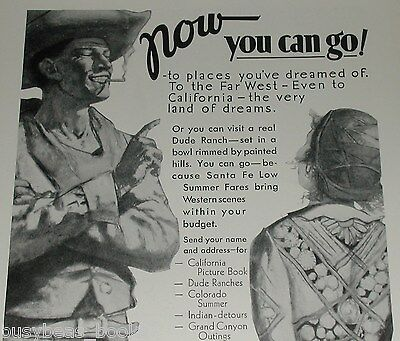 1931 Santa Fe Railroad advertisement, Smoking Cowboy, dude ranch, young cowgirl