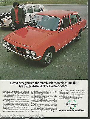 1972 TRIUMPH DOLOMITE advertisement, British Leyland Triumph, British advert