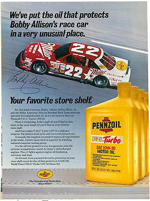 1987 PENNZOIL advertisement, Motor Oil, NASCAR Bobby Allison #22 race car