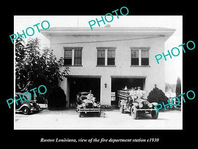 OLD LARGE HISTORIC PHOTO OF RUSTON LOUISIANA, THE FIRE DEPARTMENT STATION c1930