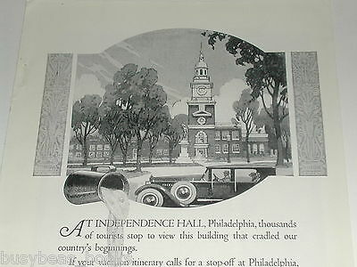 1924 Texaco advertisement, gasoline, motor oil, Independence Hall