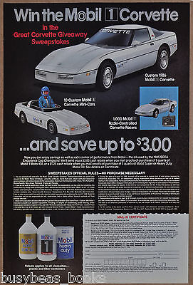 1986 MOBIL OIL advertisement, auto oil, Corvette Giveaway contest