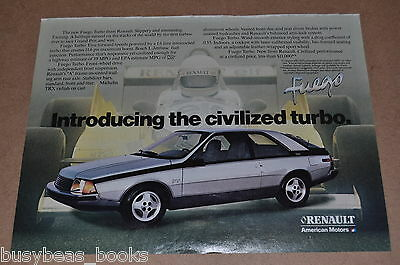 1982 Renault advertisement, Renault Fuego with Renault Elf RS01 F1 race car, AMC