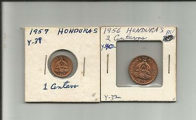 Honduras. 1 & 2 cent. 1956--57. BRILLANT BLAZING UNC.!! Nice pair.!!