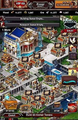 Game of War Account 244KT Power, 10B Gold, All T7, Research Maxed, Fire Age GOW