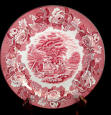 "Vintage 10"" Dinner Plate ENGLISH SCENERY Pattern Wood & Sons Pink Transferware"