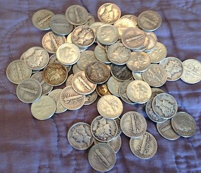 Lot Of 70 90% Silver Mercury and Roosevelt Dimes, 1940's thru 1964, Nice!