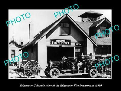 Old Large Historic Photo Of Edgewater Colorado, The Fire Department Station 1930