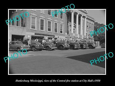 OLD LARGE HISTORIC PHOTO OF HATTIESBURG MISSISSIPPI, CENTRAL FIRE STATION c1950