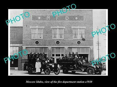 OLD LARGE HISTORIC PHOTO OF MOSCOW IDAHO, THE FIRE DEPARTMENT STATION c1930