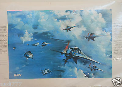 1982 U.S. Navy It's Not Just A Job It's An Adventure Recruiting Poster Ad JETS ?
