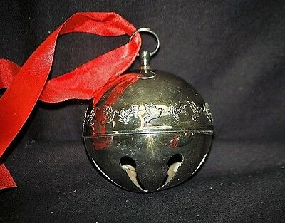 Old Vintage 1977 Wallace Silver Plate Christmas Bell w Doves & Red Ribbon Xmas