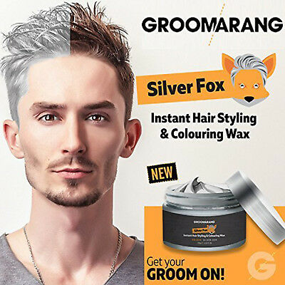 Silver Fox Instant Hair Colour Styling Wax Natural Grey Wash Out Temporary Dye
